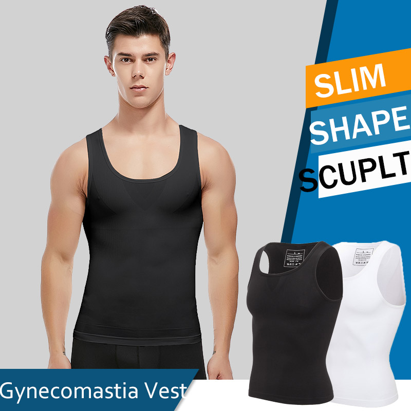 Mens Slimming Body Shaper Vest Shirt Abs Abdomen Compression Shirt To Hide Gynecomastia Moobs Workout Tank Tops Undershirts