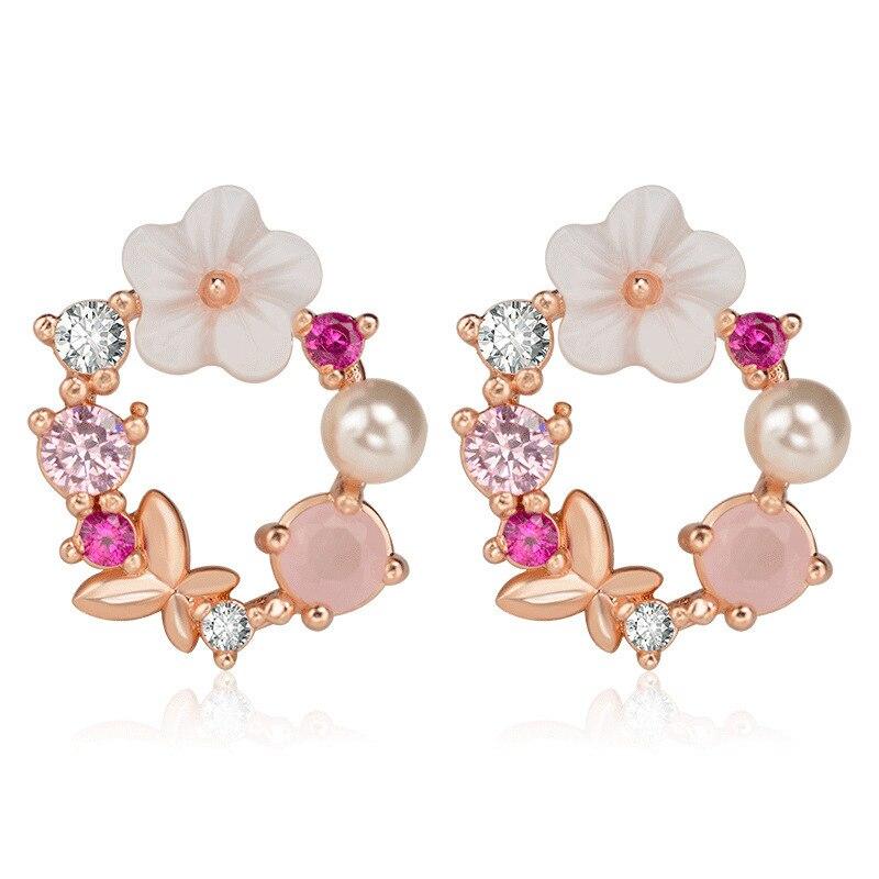Fashion Creative Butterfly Flowers Crystal Dangle Earrings for Women Rose Gold Zircon Sweet Wreath Drop Earring Jewelry Gift