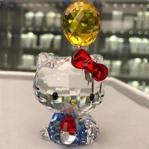 Image 1 - Figuritas de gatos de dibujos animados de cristal de alta calidad adorno de coche gato Aniaml pisapapeles regalo de boda Interior Multicolor, señora Favor regalo