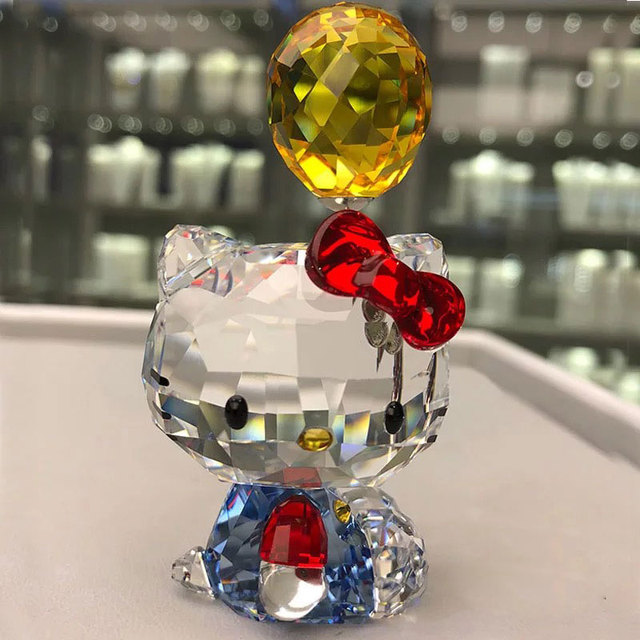 High Quality Crystal Cartoon Cat Figurines Car Ornament  Cat Aniaml Paperweight Wedding Gift Multicolor Interior,Lady Favor Gift