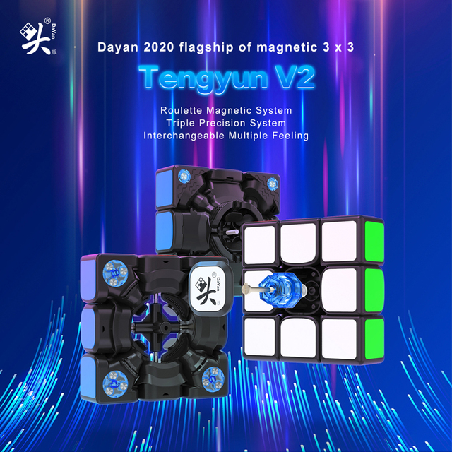 Original Newest Dayan tengyun V2 M Magnetic 3x3x3 Cube Cubo Magico 3x3 with Magnets Educational Toys for kids Gifts Tengyun V2M 5