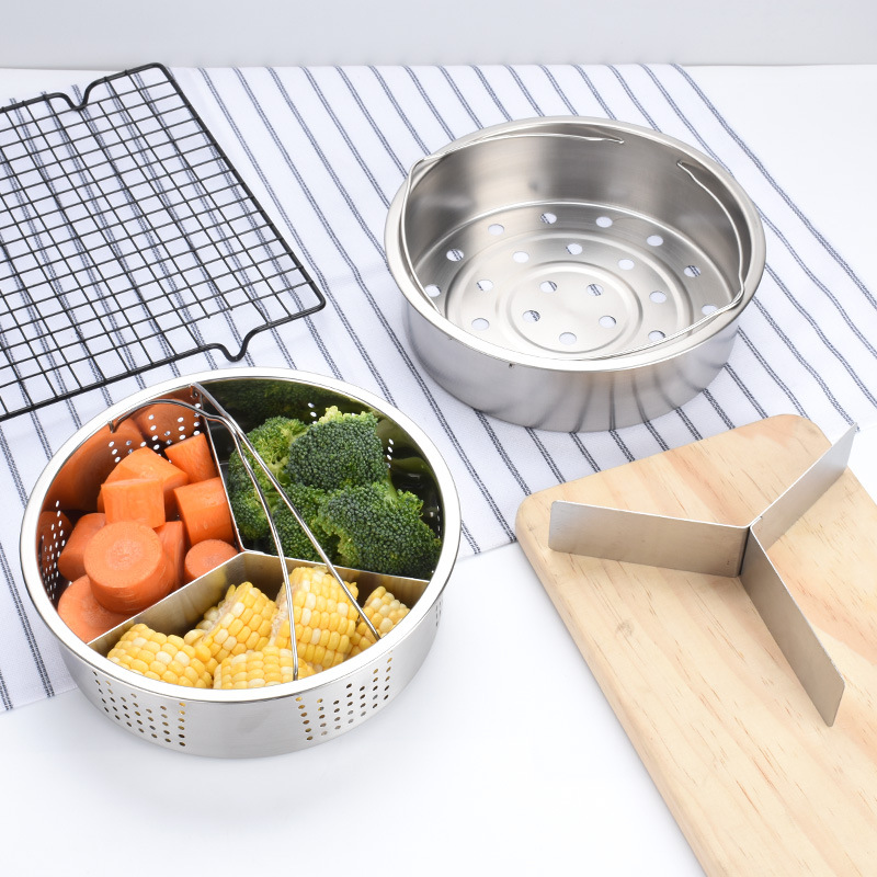 Hot Stainless Steel Pot Steamer Basket Egg Steamer Rack Divider For Pressure Cooker Pot PLD