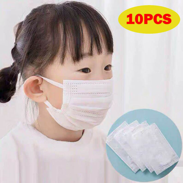 10Pcs 3 layer Disposable Elastic Mouth Soft Breathable Blue Soft Breathable Flu Hygiene Child Kids Face Mask 4-13Y