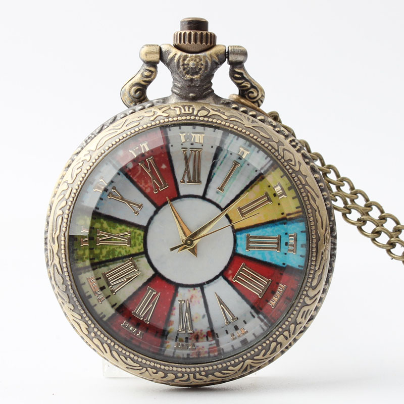 Pocket & Fob Watches Roman Numbers Colorful Glass Quartz Pocket Watch for Men/women Gift
