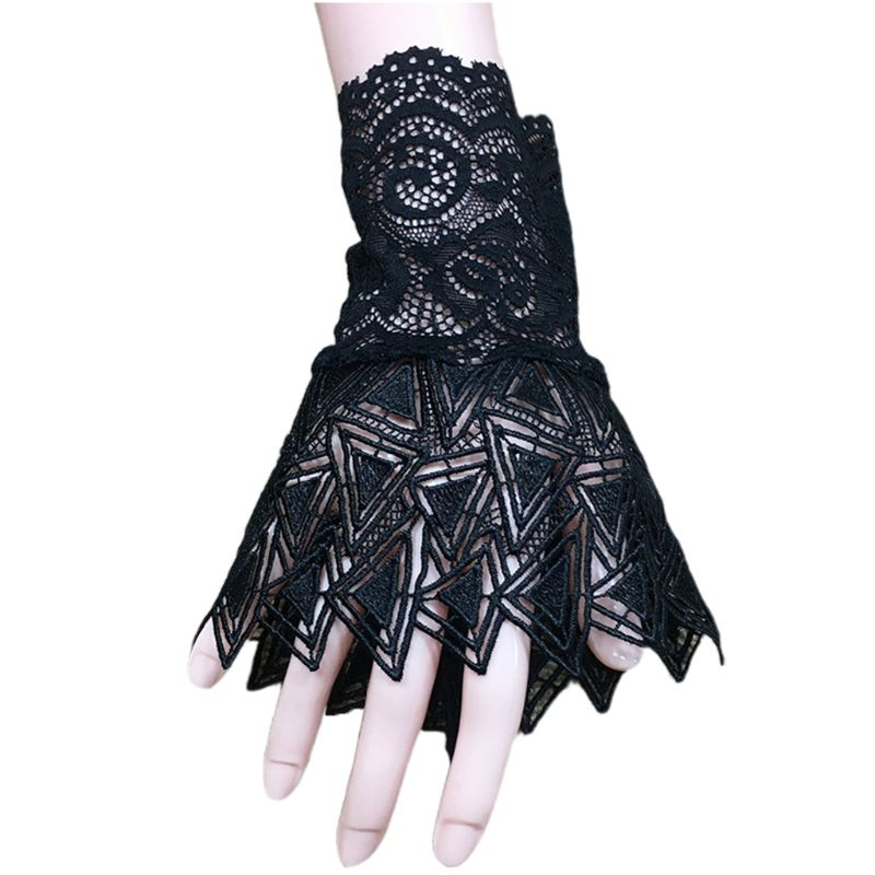 Women Hollow Out Embroidery Lace Horn Cuff Sunscreen Fake Sleeve Gloves