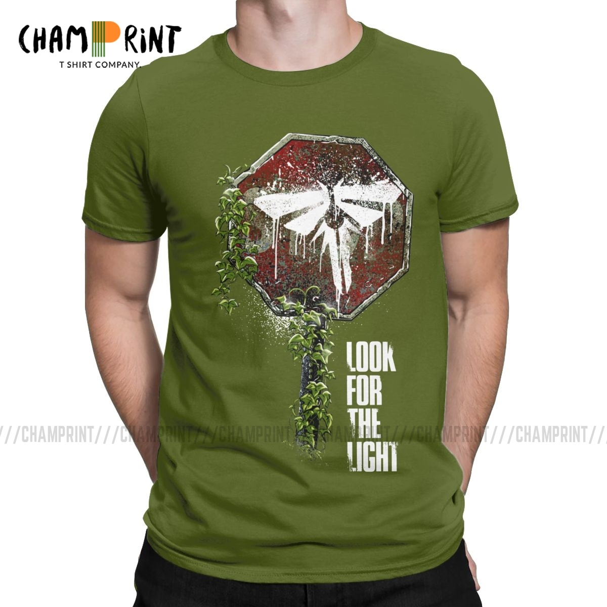 Look For The Light T Shirts For Men Pure Cotton Awesome T-Shirts Round Collar The Last Of Us Game Tees Short Sleeve Tops Unique