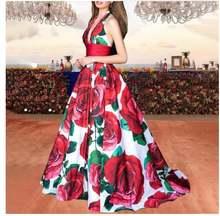 Элегантное вечернее платье с цветочным принтом женское без рукавов