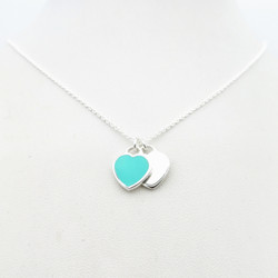 1: 1 sterling silver 925 classic ladies blue enamel heart-shaped silver heart-shaped double heart pendant necklace jewelry