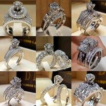 Elegante juego de anillos de boda para mujer de Zirconia cúbica vintage nupcial compromiso Rosa goldFinger accesorios de joyería anillos mujer