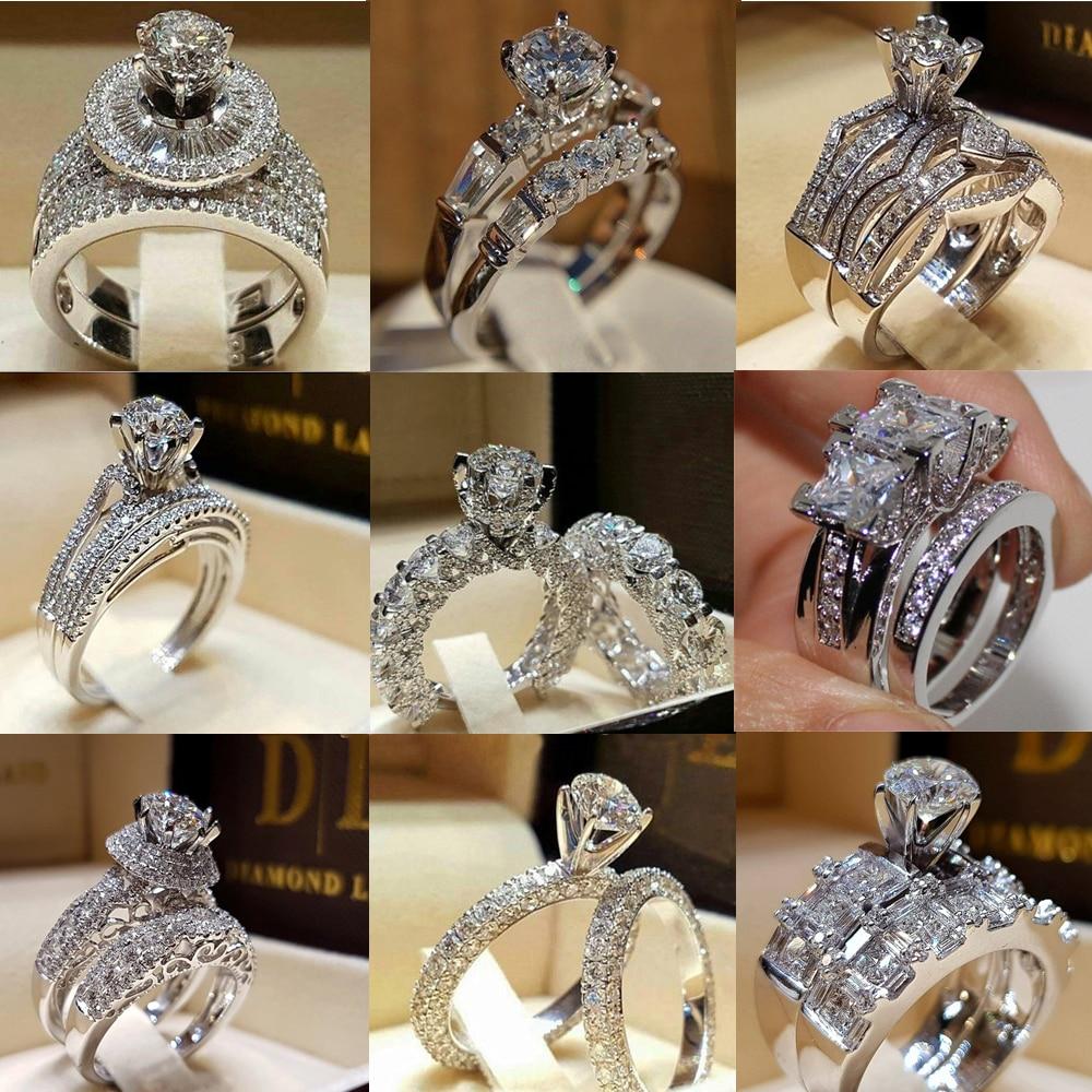 Elegante conjunto de anillo de boda para mujer Circonia cúbica CZ encanto nupcial compromiso fiesta anillo de dedo joyería 2 unids/set