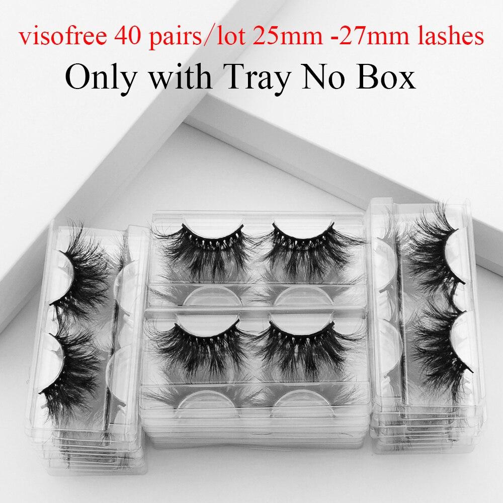Visofree 40pairs 25MM Lashes 3D Mink Lashes With Tray No Box Long Mink Eyelashes Dramatic Volume Eyelashes Thick False Eyelashes