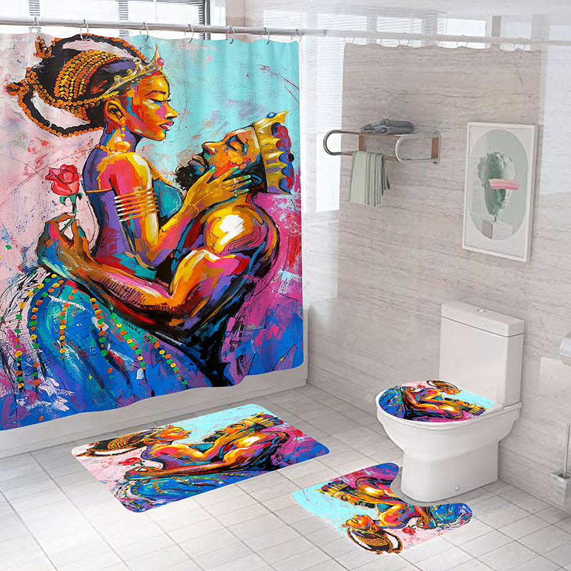 African American Girls Shower Curtain Set with Mat Rug Carpet Women Bathroom Partition Toilet Inspiration Home Decor Cortina