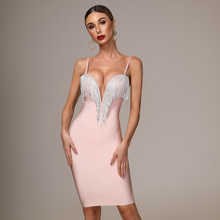 2019 Autumn New Women's Fashion Sexy Bandage Dress Blue White Pink Black Spaghetti V-neck Tassel Party  Christmas Dress