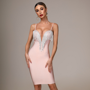 Image 2 - 2020 herbst Neue frauen Mode Sexy Verband Kleid Blau Weiß Rosa Schwarz Spaghetti V ausschnitt Quaste Party Weihnachten Kleid