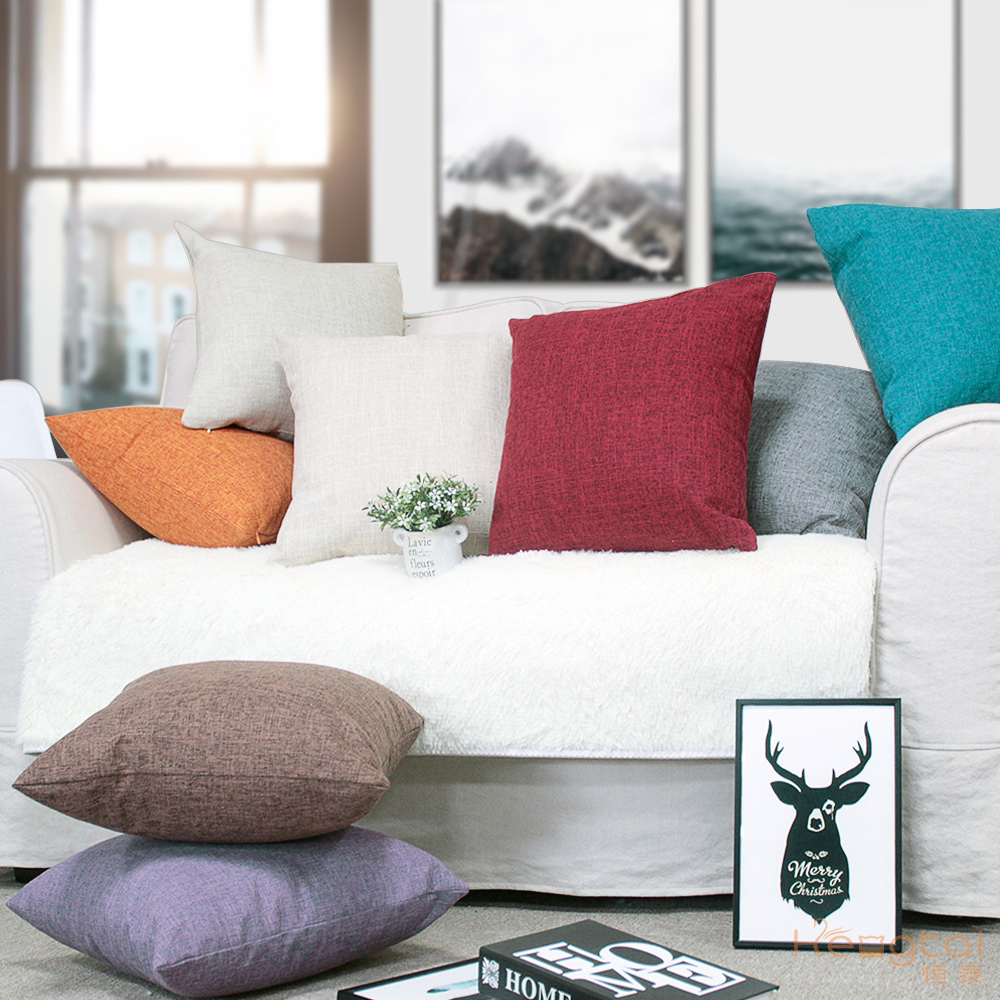 Linen Decorative Pillow Case 40 40 45 45 50 50 Nordic Plain Square Pillow Cover Fall