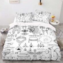 Duvet-Cover-Set Size-Bedding King White with Pillowcase 140200 Archery-Pattern Retro-Style