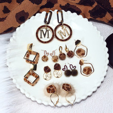 Vintage Sexy Leopard Geometric Irregular Bow Knot Anti-allergy Dangle Drop Earrings Fall Winter Korean Fashion Jewelry-BYF