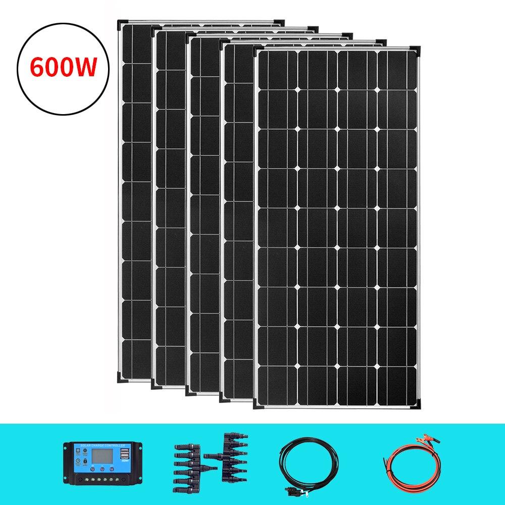 Солнечная панель 18 в 120 Вт-600 Вт panele solare 12 В 24 в 36 в 360 Вт, зарядное устройство для аккумуляторов, Солнечная пластина для фотоэлектрических аппа...