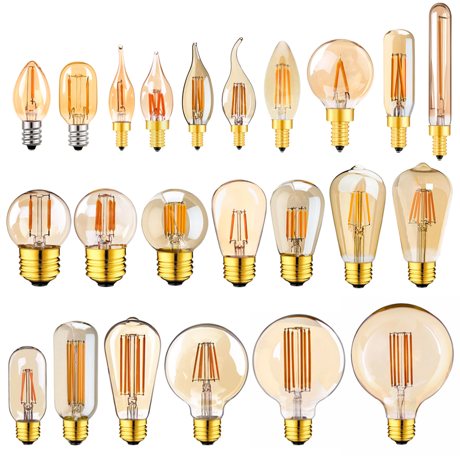 E14 E27 Led Dimmable Lamp 220V Gold Tubular Chandelier Night Lamp 0.5W 1W 2W 3W 4W 6W 8W 2200K Vintage LED Filament Light Bulbs
