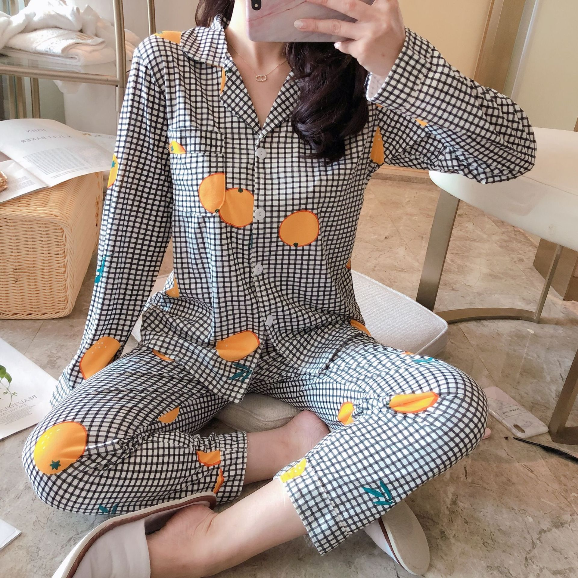 Elegant Fashionable Thick Warm 100% Cotton Women Pajamas Set Winter Loose Cartoon Print Sleepwear for Women Long Woman Pant+ Top 36