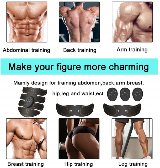 Abdominal Muscle Stimulator Trainer Smart Wireless Abs Stimulator Fitness EMS Muscle Massager Electric Slimming Massage Machine 2