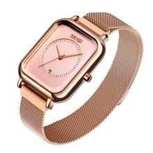 SKMEI Brand Womens Watches Luxury Mesh Belt Quartz Watch Fashion Ladies Dress Bracelet Waterproof Women Watch Clock