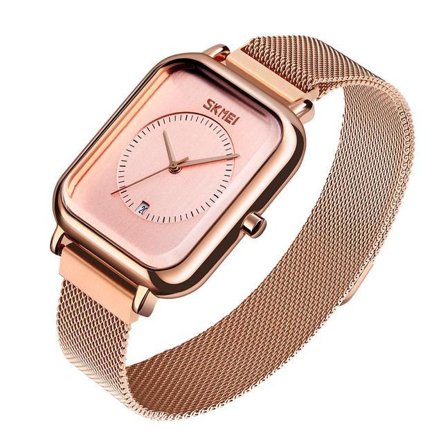 SKMEI Brand Womens Watches Luxury Mesh Belt Quartz Watch Fashion Ladies Dress Bracelet Waterproof Women Watch Clock
