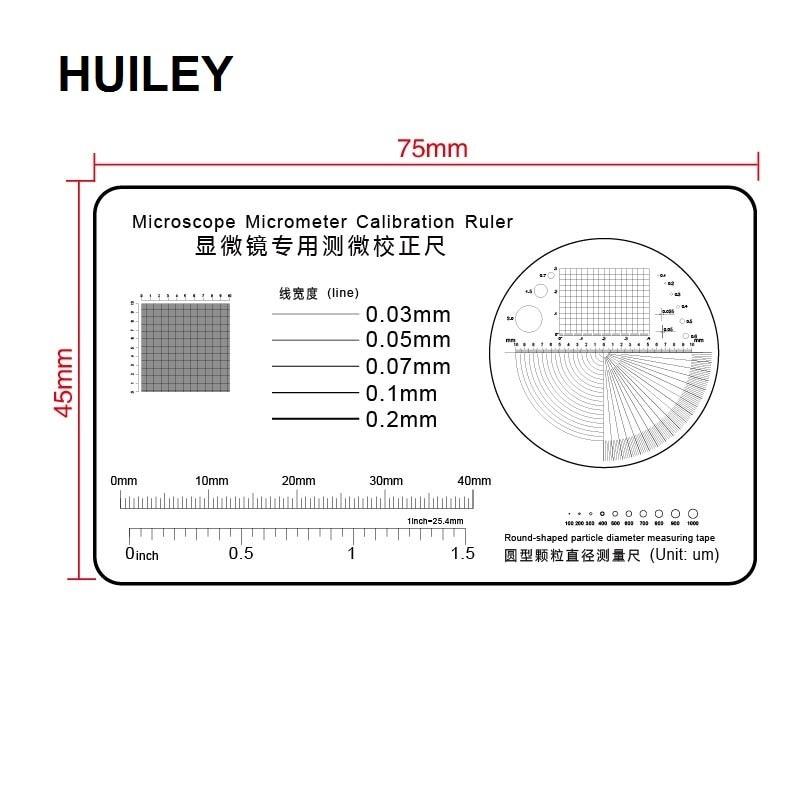 교정 눈금자 투명 필름 PET 현미경 마이크로 미터 원형 입자 직경 측정 테이프 라인 좌표