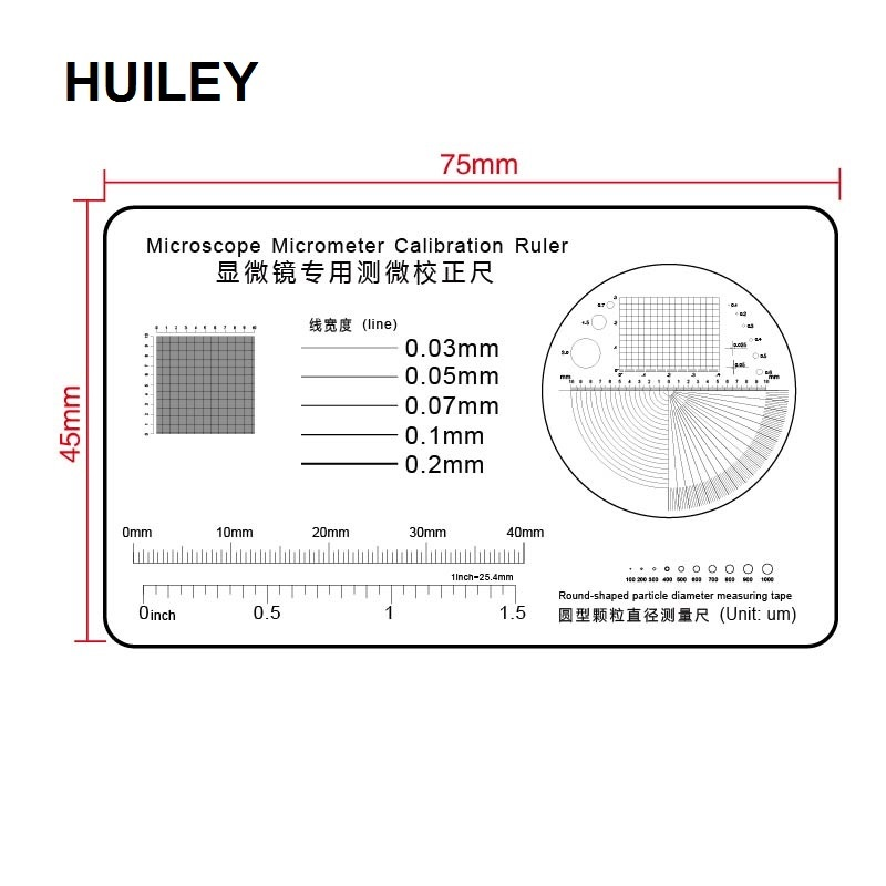 Calibration Ruler Transparent Film PET Microscope Micrometer Round-shaped Particle Diameter Measurement Tape Line Coordinate