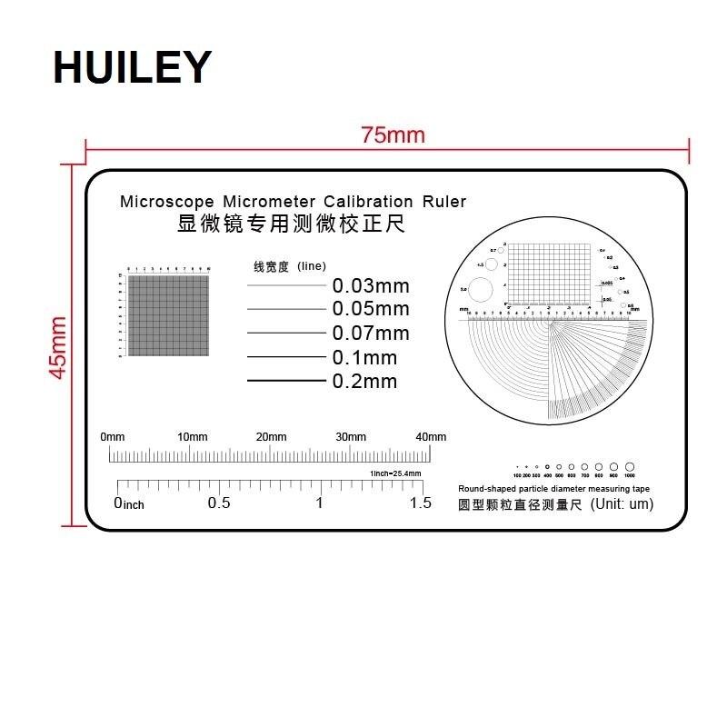 Régua de calibração filme transparente pet microscópio micrômetro redondo-dado forma de partícula diâmetro fita de medição linha coordenada