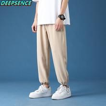 Men Four Seasons Casual Patns 2021 New Wide Leg Pants Skin Friendly Fabric Relax Foot Mouth Koeran Chic Fashion Sports Pants Men