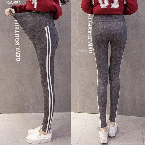 casual listrado lado leggings para gravidas calcas para mulheres gravidas roupas leggings gravidez magro stretch