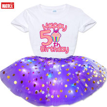 Birthday Custom Luminous Skirt Suit 2021 Summer Kids Girls Custom Printing T-shirt +Glow Sequins Skirts Dress Outfit Clothes Set