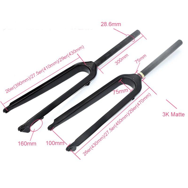 """2020 New 26/27.5/29inch Carbon MTB Fork 3K Straight Tupe Fork Full Carbon Fiber Mountain Bike/racing Forks 1-1/8""""disc brake"""