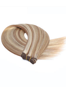 Hair-Extensions Weft Cuticle-Aligned Human-Hair Weavon European Real 50g Remy Natural