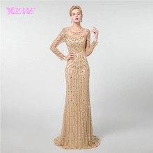 YQLNNE золото с длинным рукавом вечернее платье Русалка кристаллы бисер пышные платья Robe de Soiree