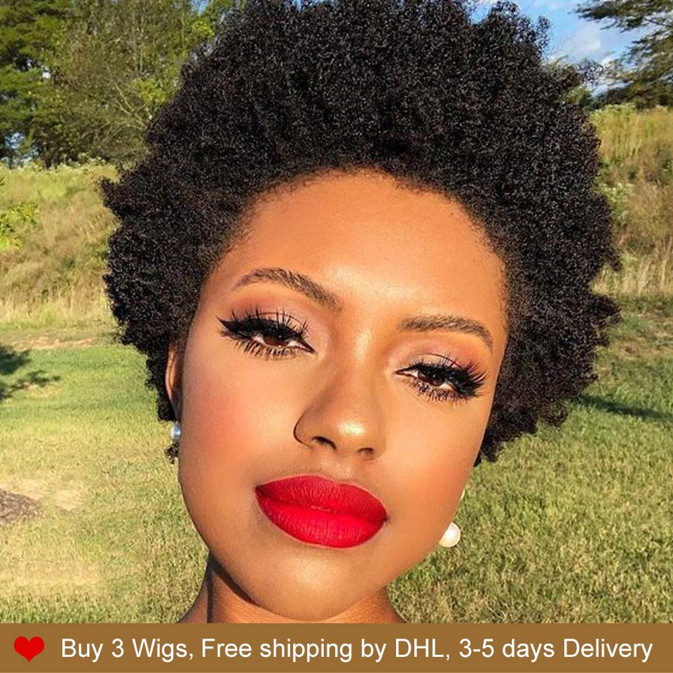 Rebecca Pixie Cut Wigs Cheap Wholesale Short Afro Kinky Curly Wig 100% Human Hair Natural Hair Bob Straight Wigs For Black Women