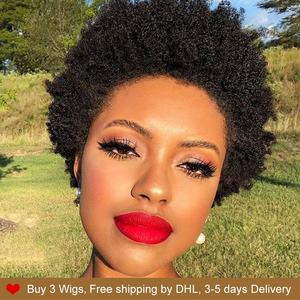 Rebecca pixie cut wigs Cheap Wholesale Short Afro Kinky Curly Wig Human Hair Full Wig For Black Women Natural Hair Bob Straight(China)