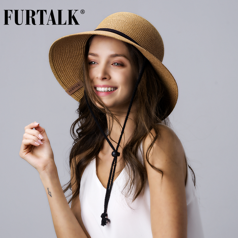 FURTALK Straw Summer Hat Women Sun Hat With Wind Lanyard Wide Brim UPF 50+ Un Protection Beach Hat Foldable Female Summer Caps