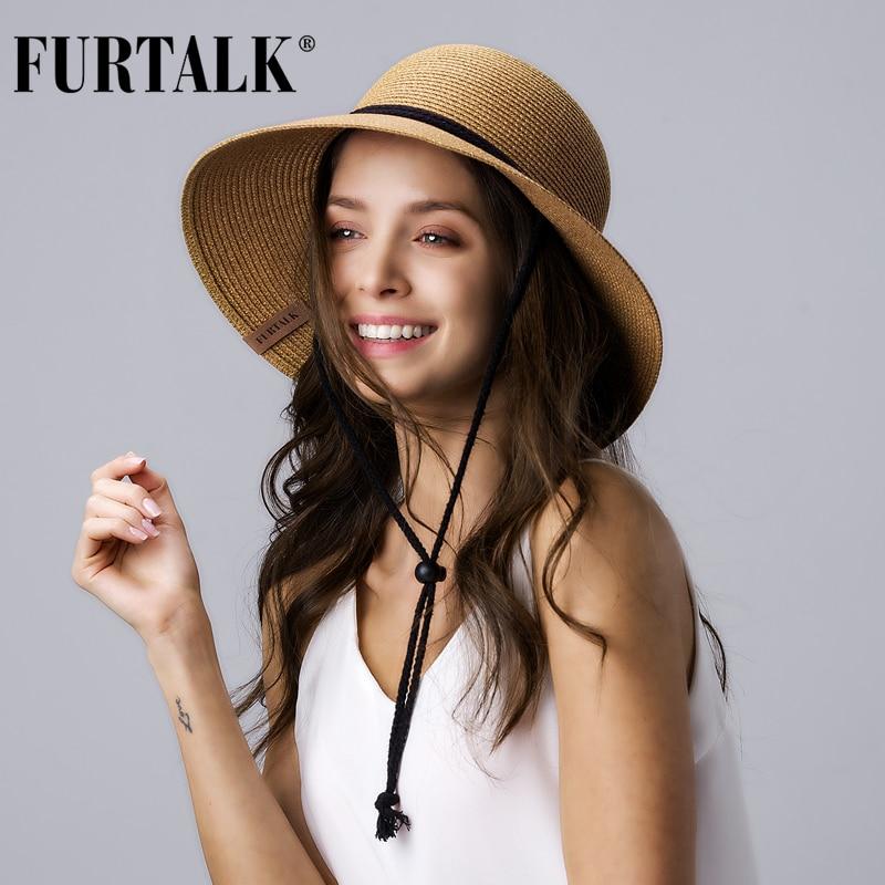 Женская соломенная шляпа FURTALK, шляпа от солнца с широкими полями, с защитой от солнца, Пляжная Складная летняя кепка UPF 50 +