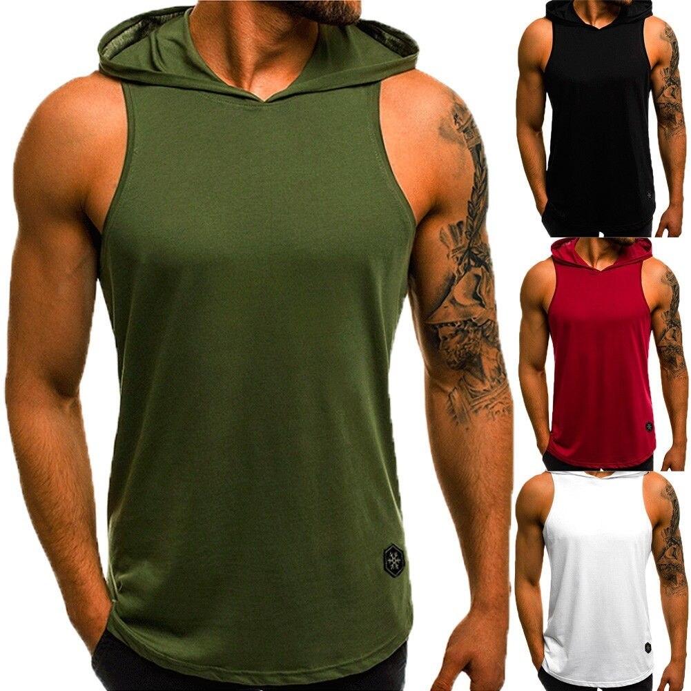 Men Sport Tank Top Sleeveless Shirt Vest Hoodie Muscle Gym Sweatshirt Running Training Vest