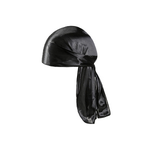 Image 4 - ילדי כובעי משי ארוך זנב כיסוי ראש היפ הופ כובע בנדנה טורבן כובעי בני היפ הופ גלימת כובע שיער אבזרים