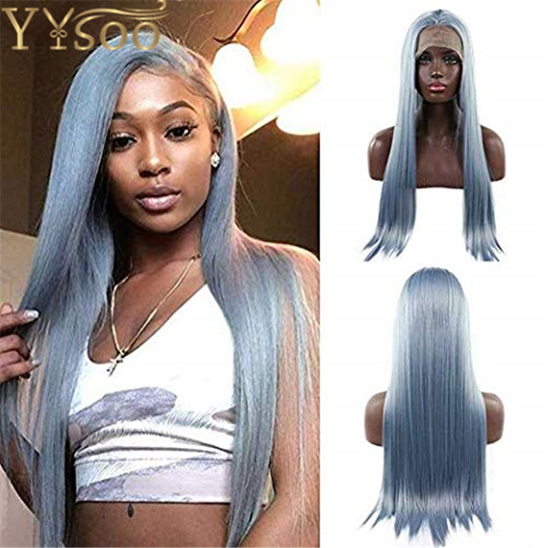 YYsoo Grey Light Blue Synthetic Lace Front Wigs for Women Long Silky Straight Natural Hairline Synthetic Lace Wigs for Women Use