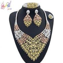Yulaili 2019 New High Quality Crystal Leaf Shape Necklace Earrings African Bridal Nigeria Wedding Dubai Gold Big Jewelry Sets