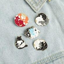 Enamel Pins Custom Sun Moon Fox Koi Rabbit Bat Wolf Brooch Bag Clothes Lapel Pin Badge Starry Animal Jewelry Day And Night Gift