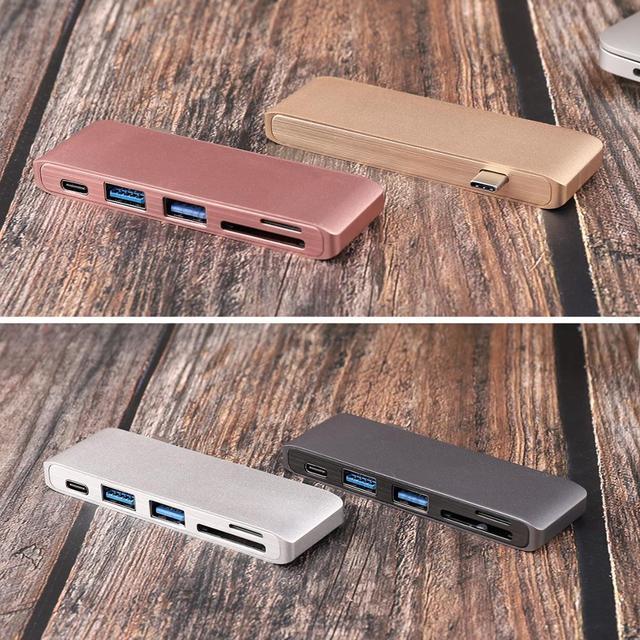 USB C Hub Per Slot per lettore di Schede di DEVIAZIONE STANDARD TF Hub 3.0 PD Thunderbolt 3 USB C Hub Adapter per MacBook New pro Air 12 13 15 16 2020 2019 A2141 3