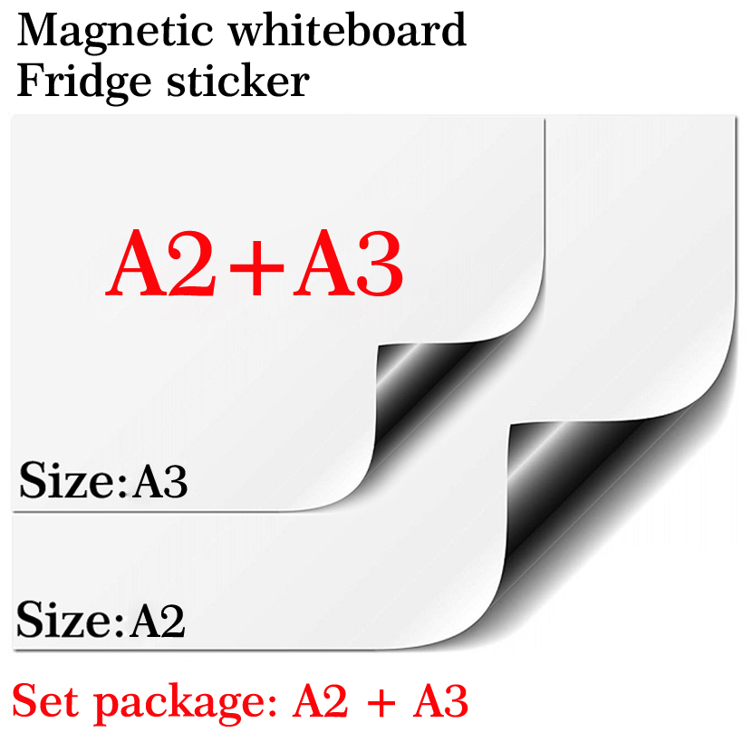 Magnetic Whiteboard Magnet Fridge A2+A3 Set Package Soft Home Office Kitchen Magnet Dry Erase Board White Board Message Board