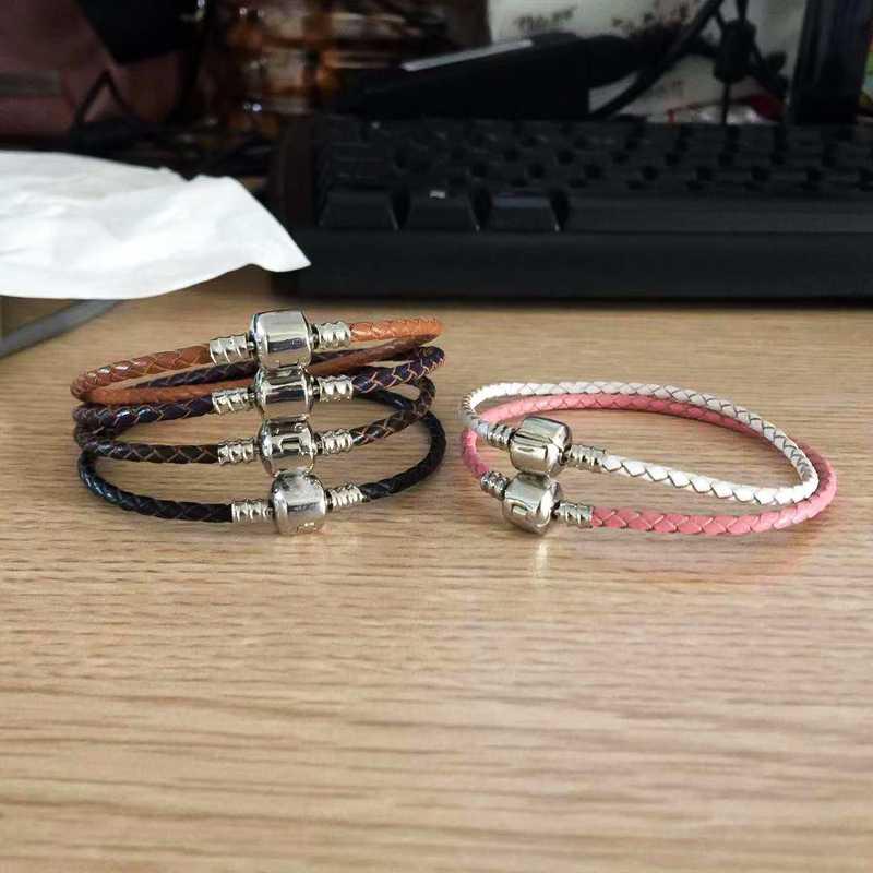 Xinyao 12 cores 16-20cm pulseira de couro charme para as mulheres ajuste original charme contas diy marca design pulseira dropshipping