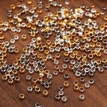 500 peças de prata ouro bola crimps final contas 2/2.5/3mm rolha espaçador componentes contas para joias fazendo descobertas diy acessórios