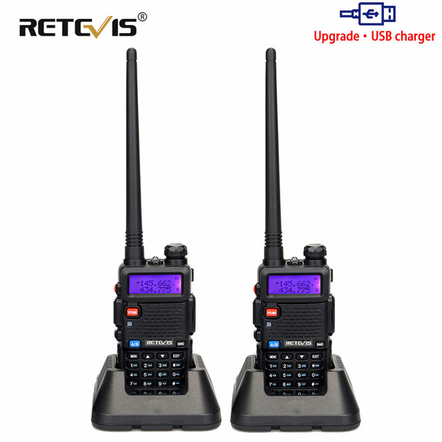 Retevis RT5R Walkie Talkie 2pcs 5W 128CH USB VHF UHF Ham Radio Two way Radio Comunicador For Hunting/Airsoft Baofeng UV 5R UV5R